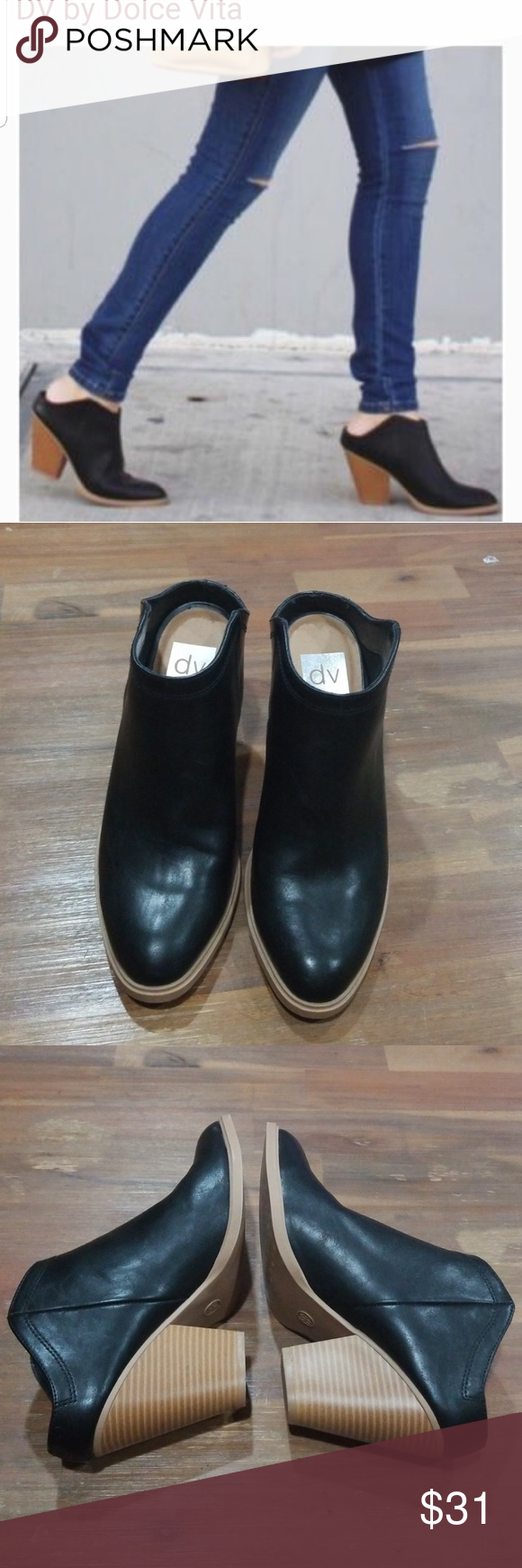 e6007553cb3c DV Nya Target Black vegan Leather mule bootie 8.5 Step into fall with these DV  Dolce