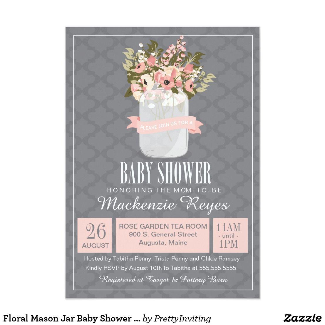 Floral Mason Jar Baby Shower Invitation | Shower invitations