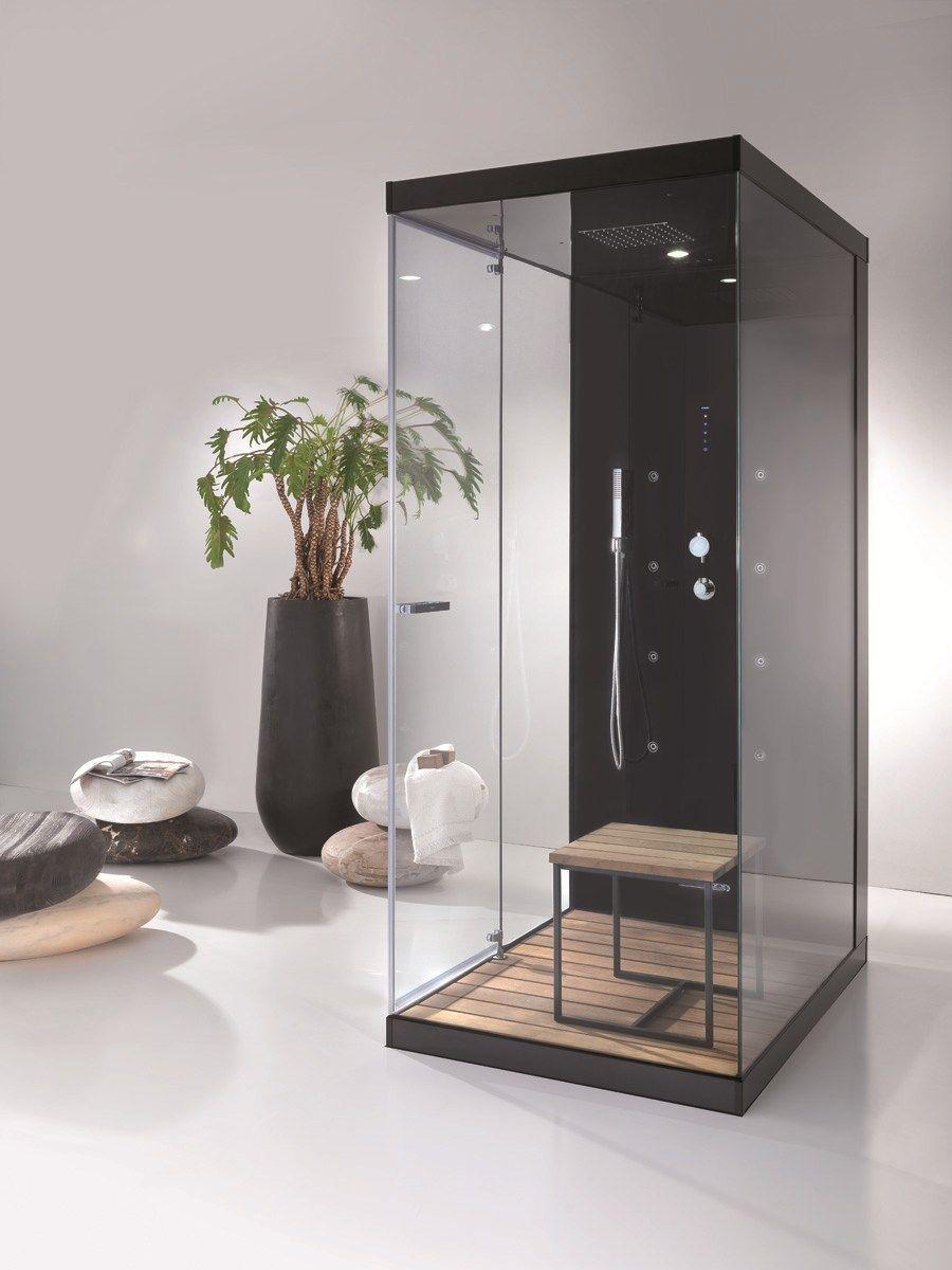 Multifunction glass and aluminium shower cabin WELLBOX