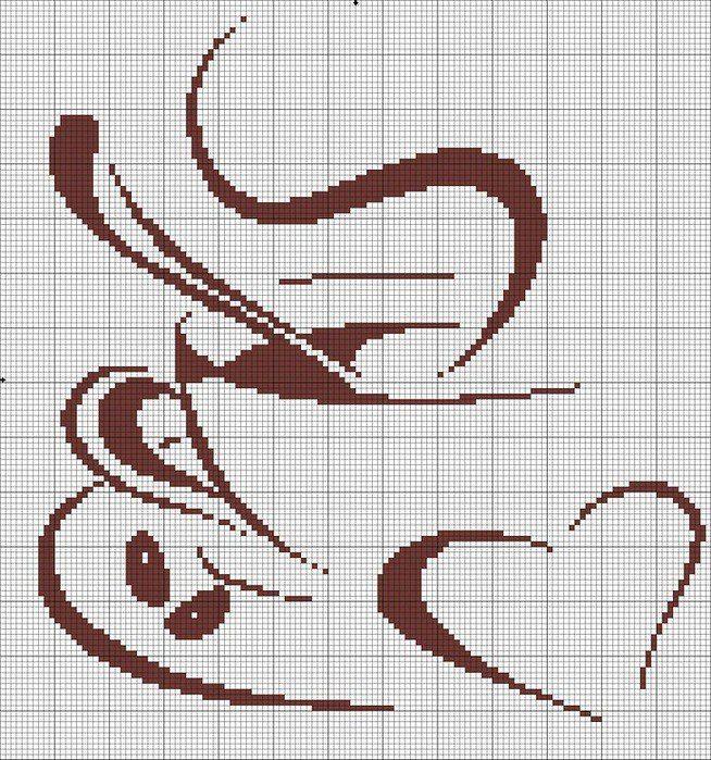 Чашка с кофе монохром вышивка крестом