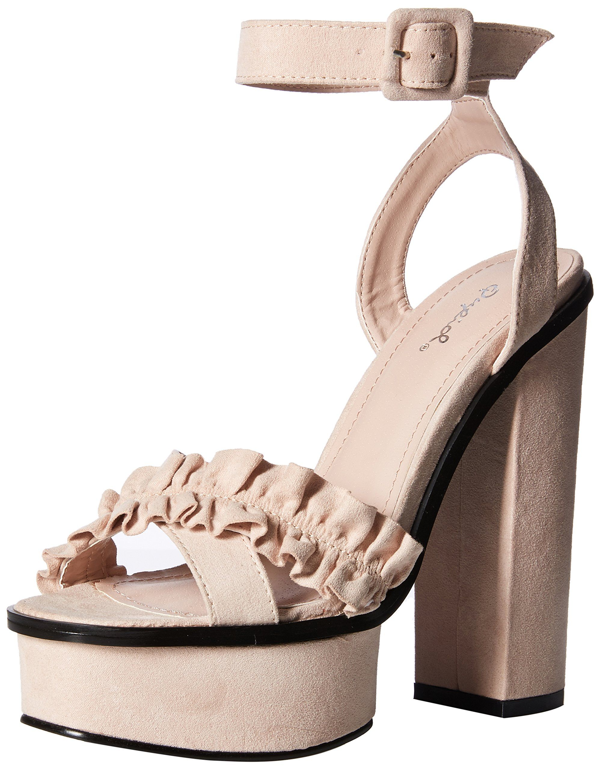 13bd32e4472 Qupid Womens Platform Heeled Sandal Nude Suede 9 M US -- Click image for  more details. (This is an affiliate link)  womenssandals