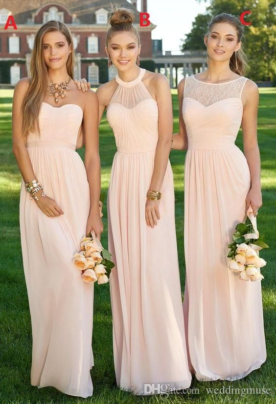 Women Bridesmaid Dress 2019 Light Pink A Line Lace Illusion