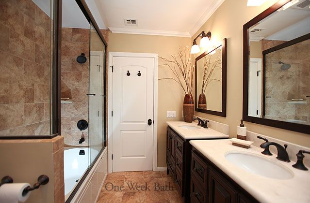 Tuscan inspired bathrooms on pinterest tuscan bathroom for Galley style bathroom