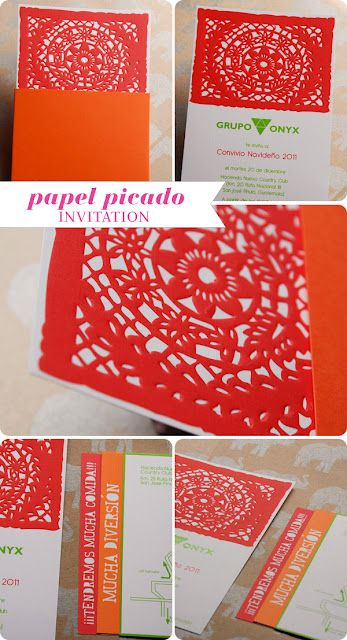 Papel Picado Mexican Embossed Invitation | OUR WORK ...