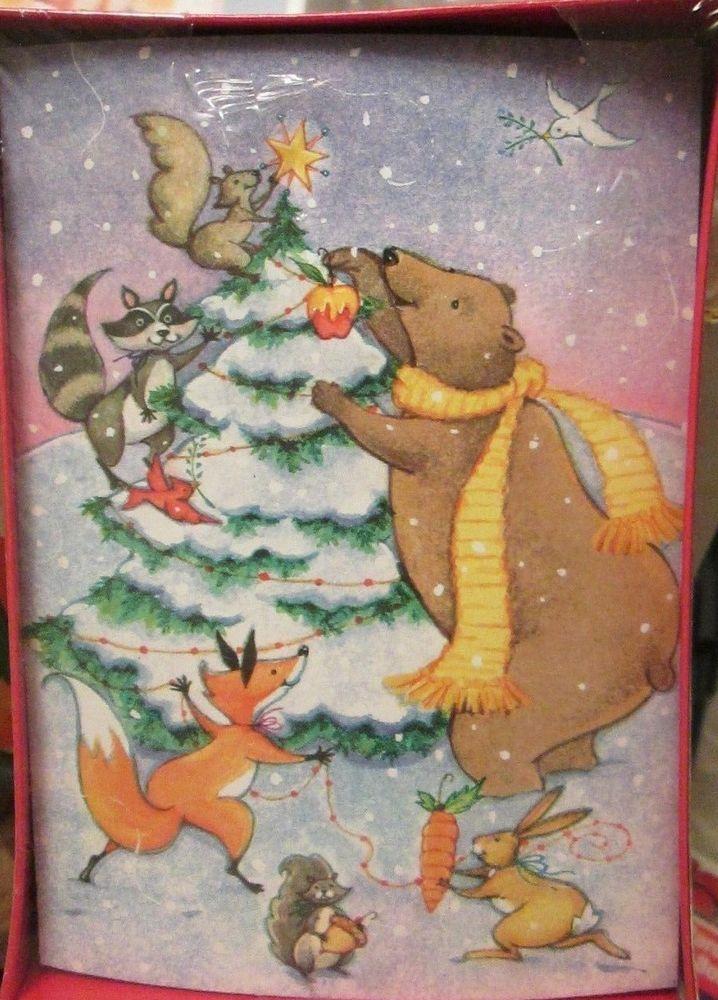 Vtg box Christmas Cards Woodland Forest Animals Decorating Tree Bear ...