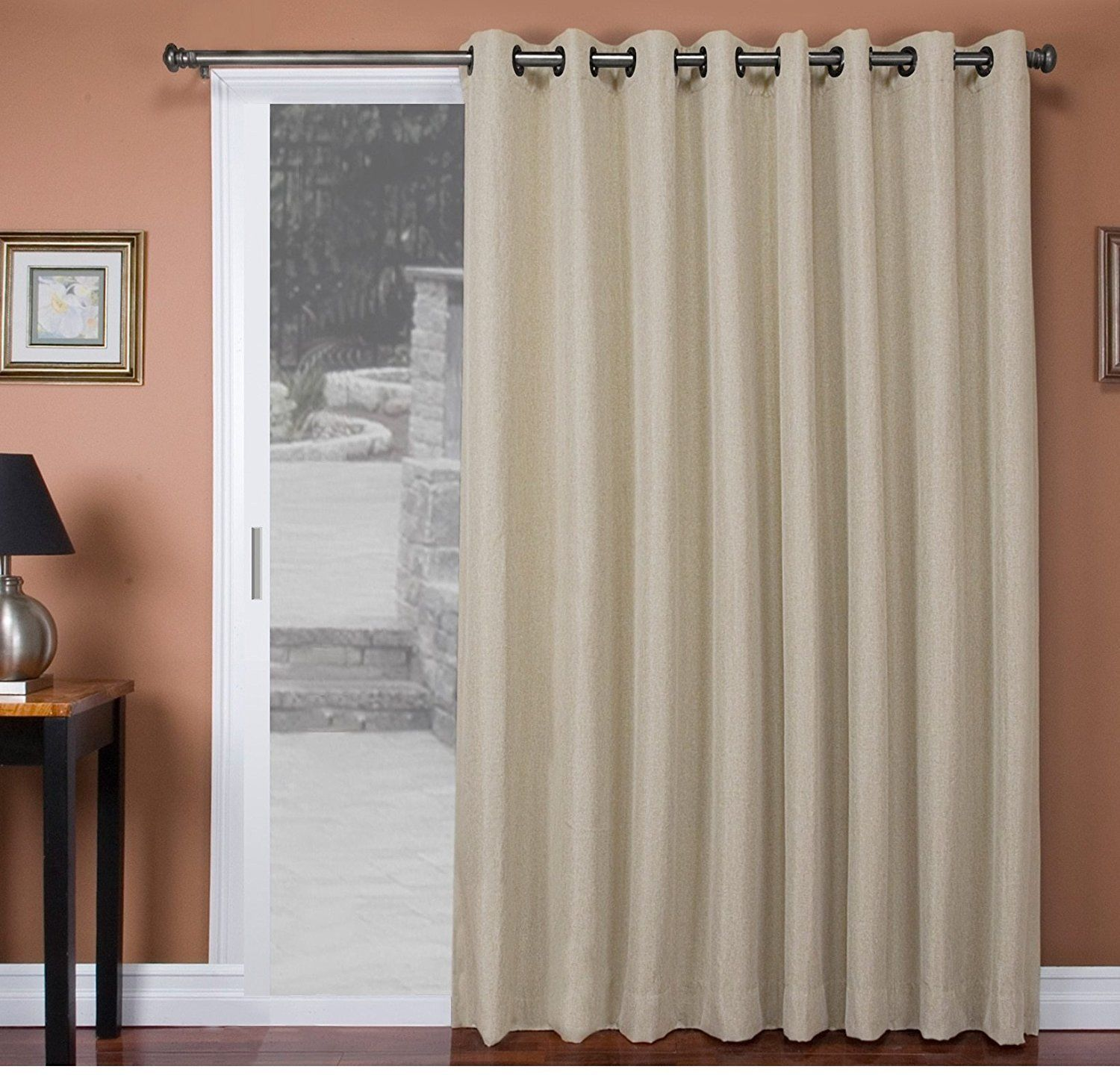 84 Inch Parchment Solid Color Sliding Door Curtain White Sliding