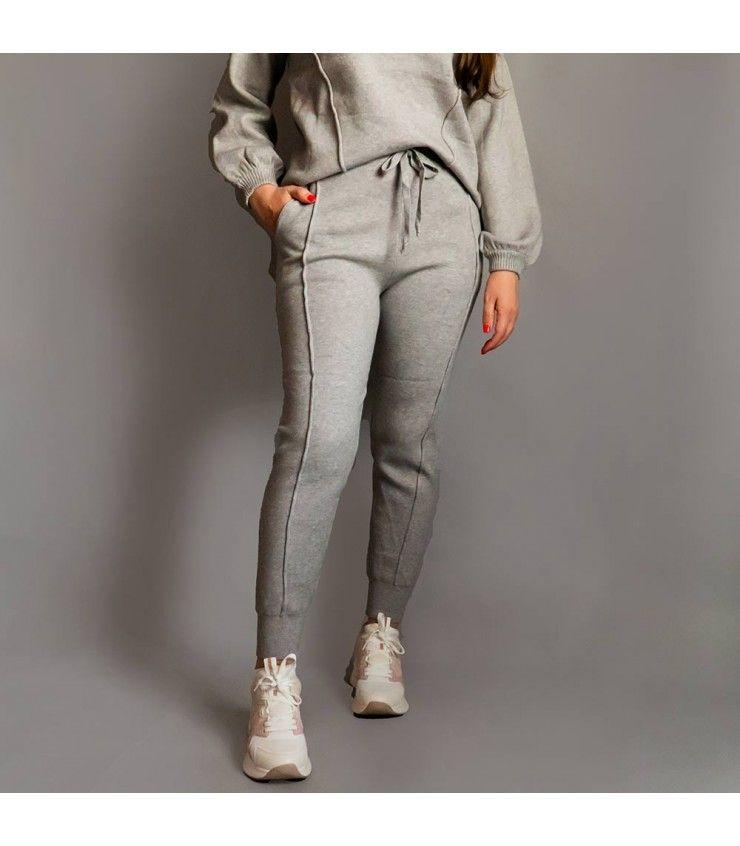 Conjunto Punto Cream Gris Pantalones De Chandal Conjuntos De Ropa Chandal Mujer