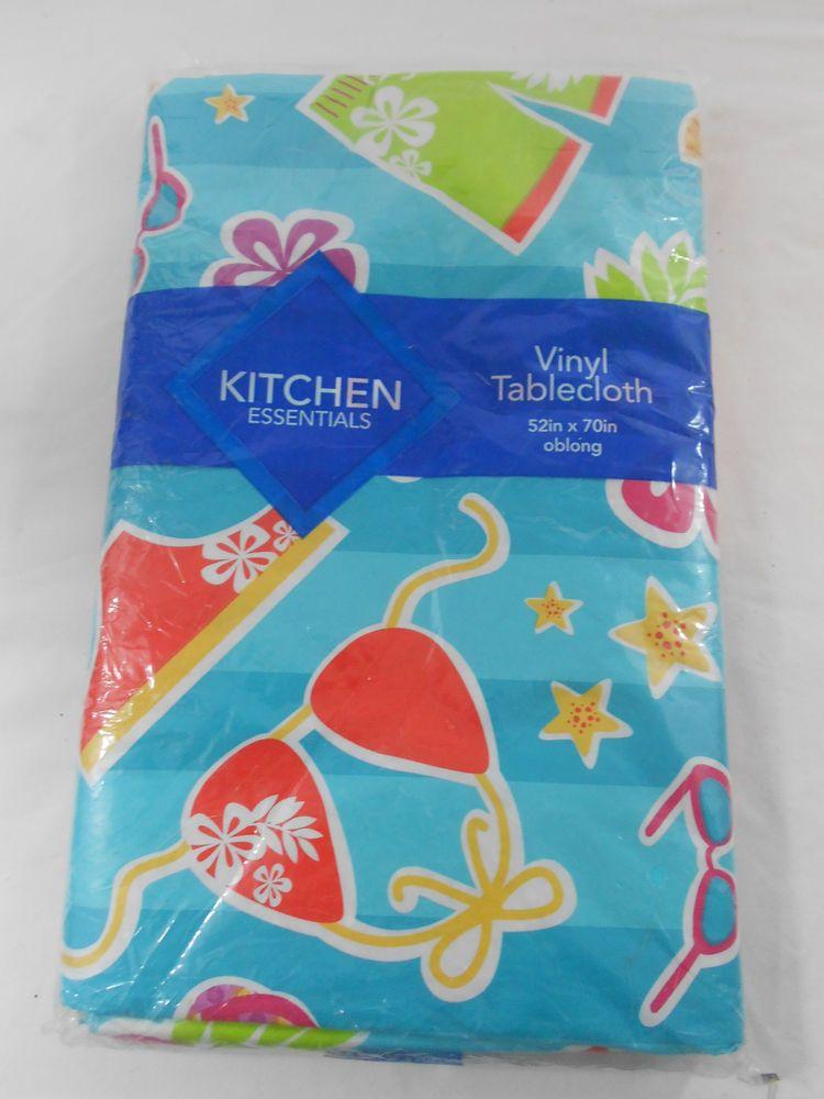 Kitchen Essentials Summer Swimsuits Vinyl Tablecloth 52 X 70 Oblong Blue Striped Kitchenessentials