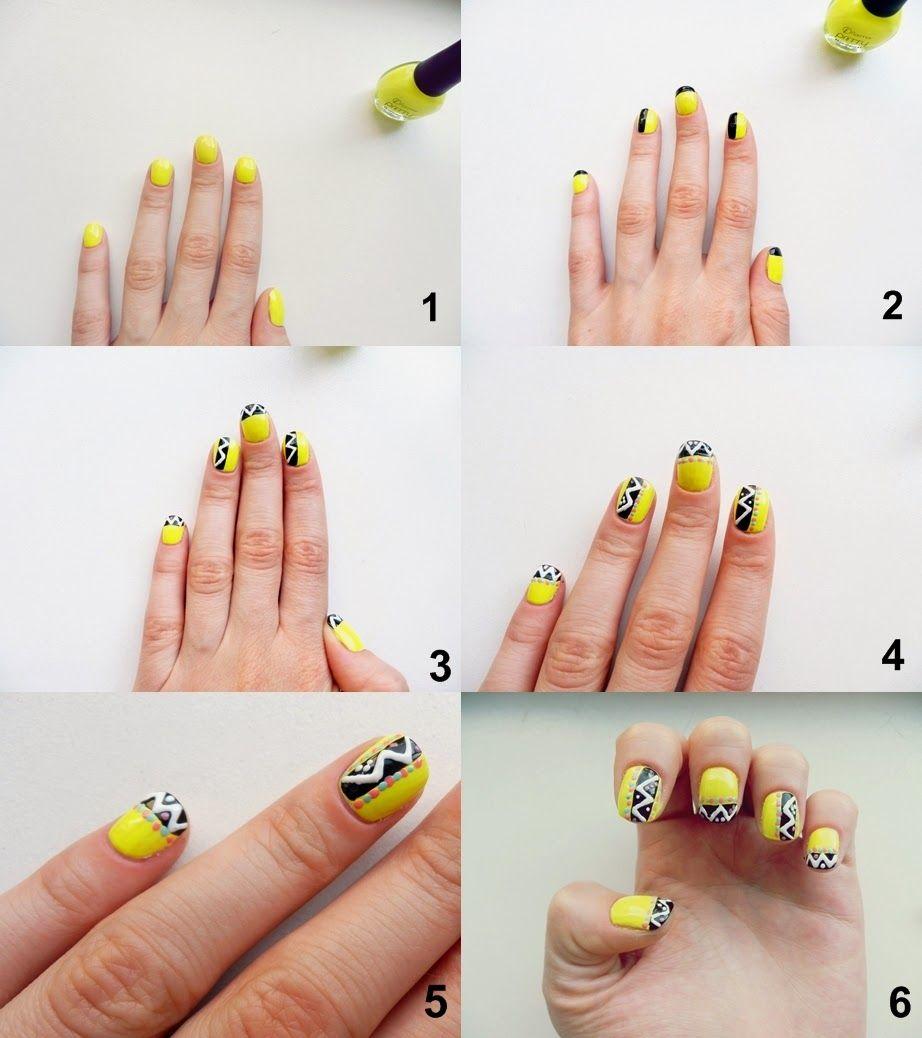 Nails art tribal | Nails art tutorial | Simple nails ...