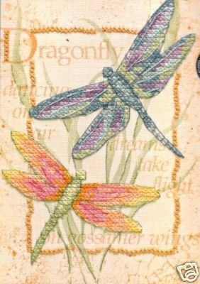 BEAUTIFUL DRAGONFLY PAIR COLORFUL NEEDLEPOINT KIT by DIMENSIONS