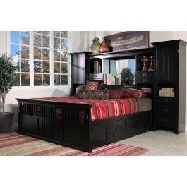 San Mateo Black Tall Wall Cal King Bed with Pedestal - Mor Furniture ...