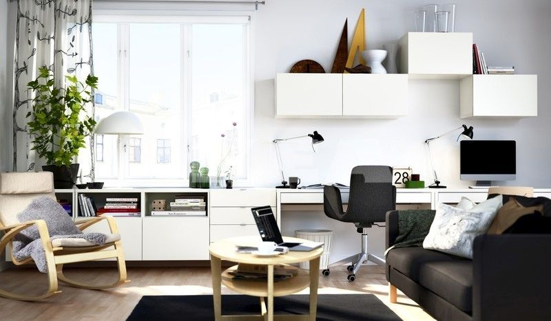 modern black and white ikea themed home office design with white double desks - Office Home Design