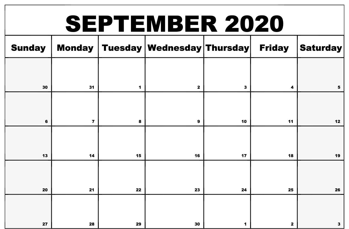 Awesome September 2020 Calendar Pdf Word Excel Printable
