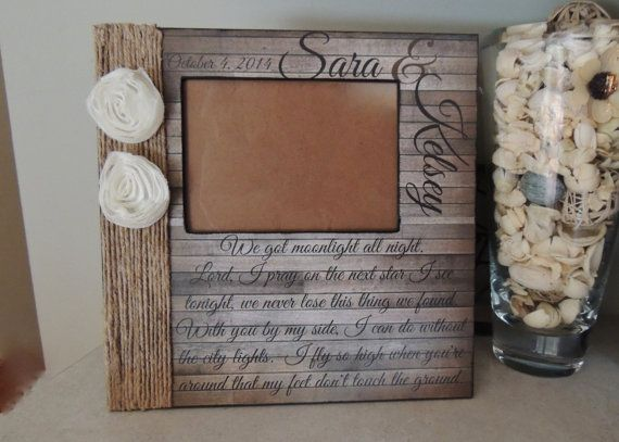 Rustic Wedding Picture Frame Personalized With Your Names And Song Lyrics