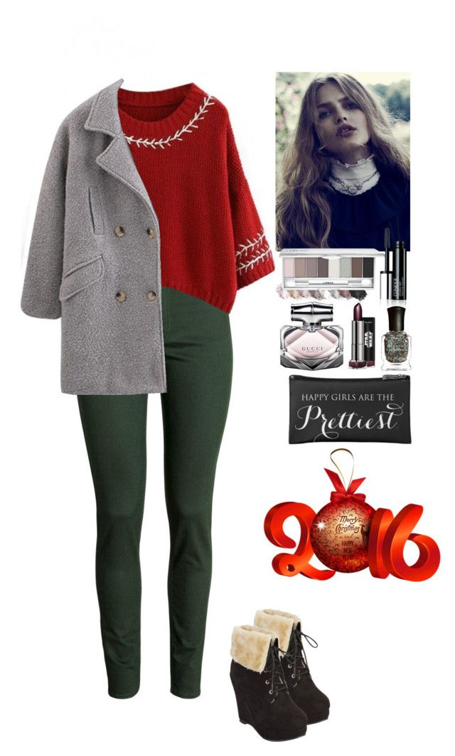 """Winter walk Beautifulhalo"" by eliza-redkina ❤ liked on Polyvore featuring H&M, Deborah Lippmann and Gucci"
