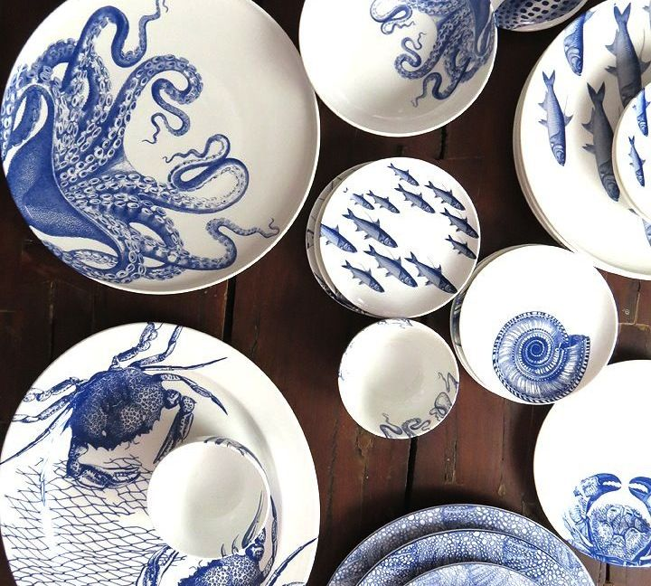 plates tableware dinnerware flatware seafood print fish plates table setting table style | Seramik | Pinterest | Setting table Fish plate and ... & plates tableware dinnerware flatware seafood print fish plates ...