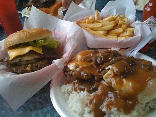 Hukilau Burger Loco Moco With Mushrooms And Fries Yelp Loco Moco Man Vs Food Burger
