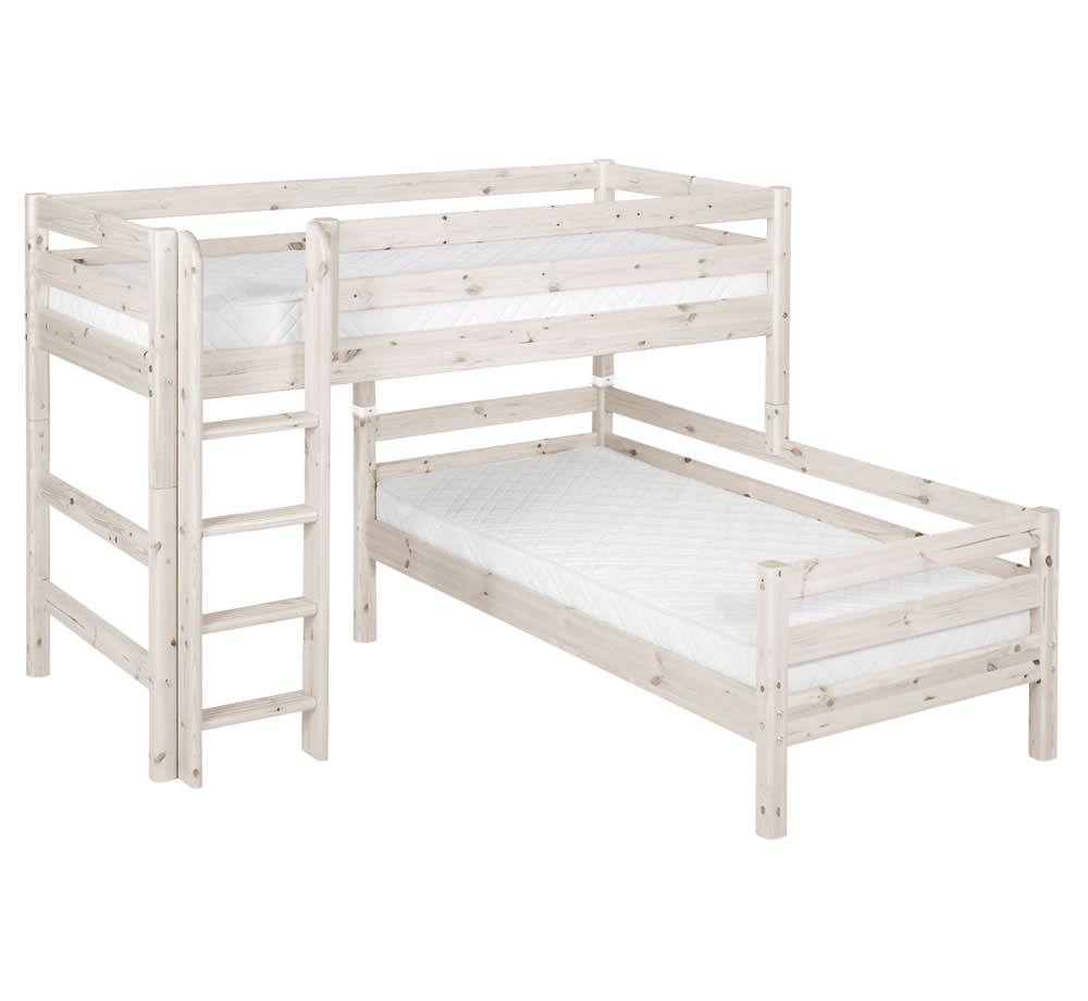 High loft bed with stairs  FLEXA Kombibett CLASSIC mittelhoch  Kidsroom