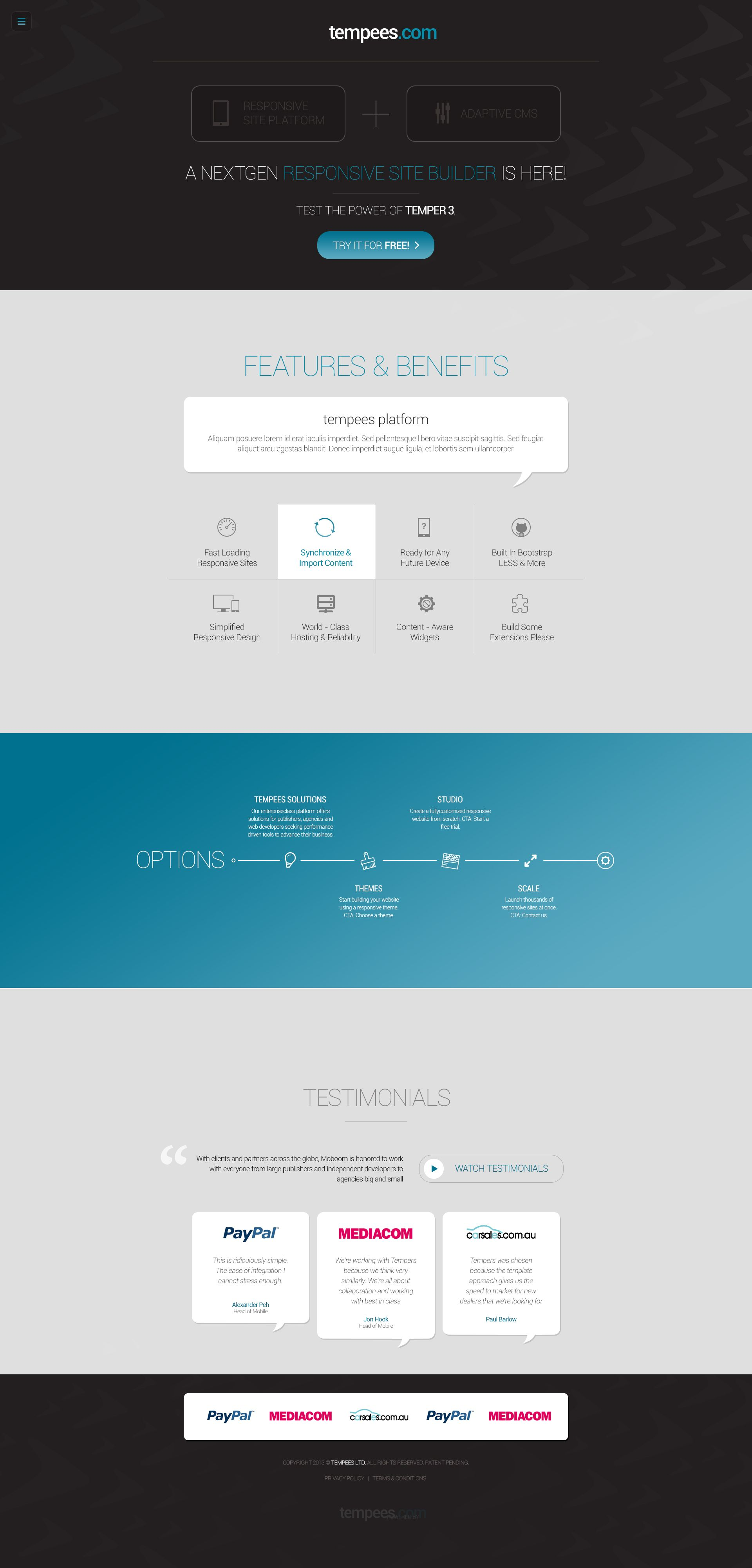 Cool flat one page website PSD template in layers for free download