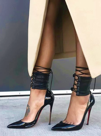 de5f5894e4f The Ankle Corset Christian Louboutin Black Heels, Hot Heels, Sexy Heels,  Pumps,