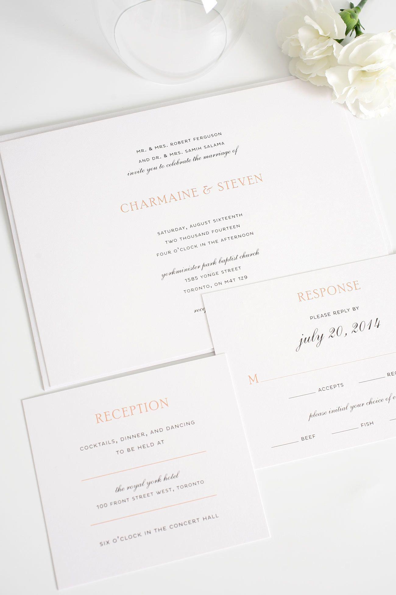 Elegant Wedding Invitations in Peach | Member Board: Stationery ...