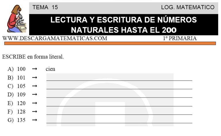 15 Lectura Y Escritura De Números Naturales Hasta El 200 Primero De Primaria Lectura Y Escritura Escritura De Numeros Matematicas Primero De Primaria