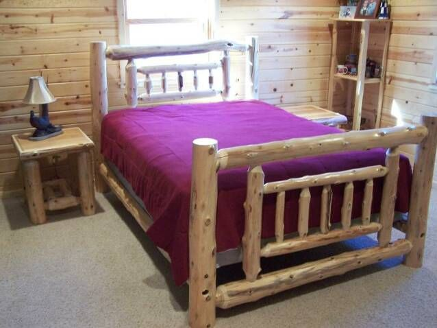 cedar bed frame plans | How to Build Log Beds (and tools to do so ...