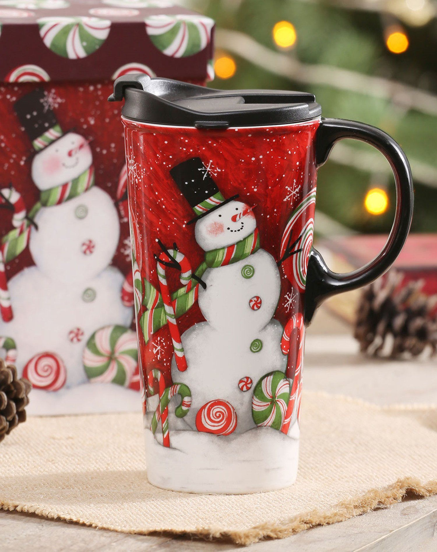 CEDAR HOME Snowman Santa Mug Travel Coffee Ceramic Tea Cup