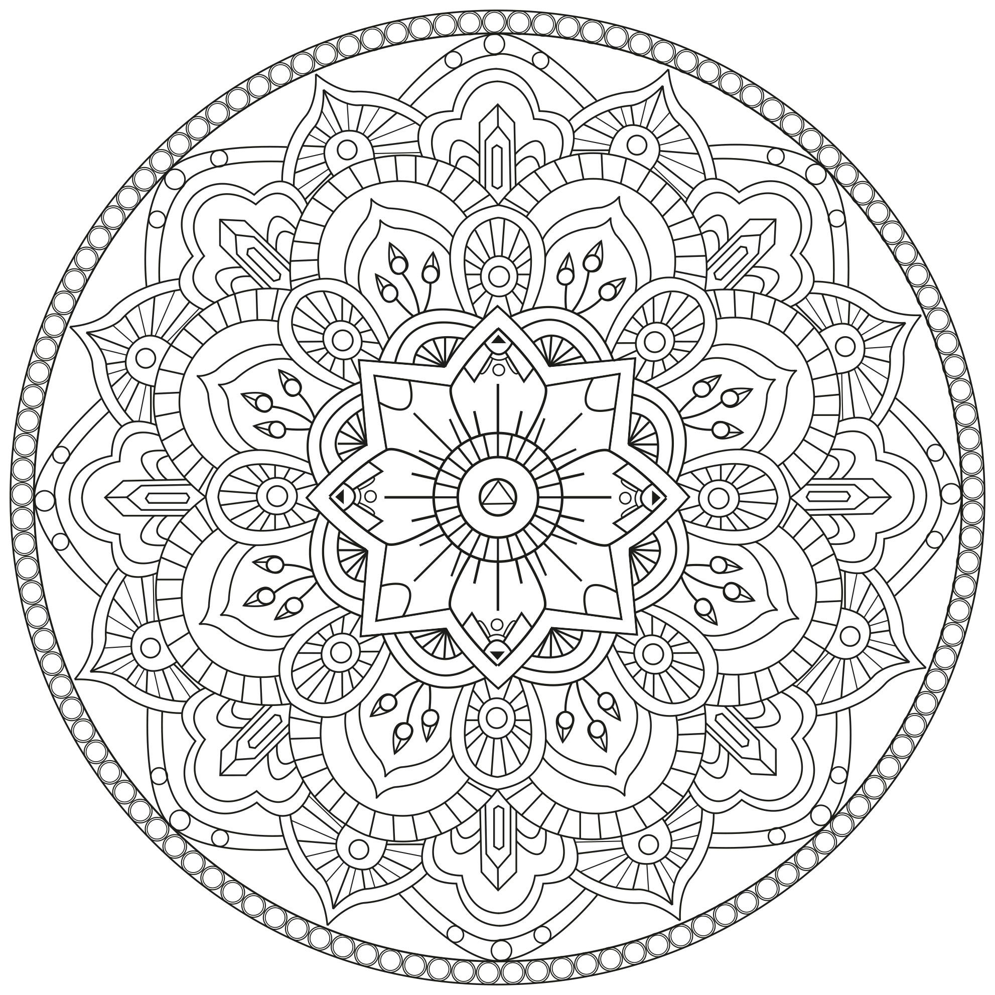 Free Difficult Mandala Coloring