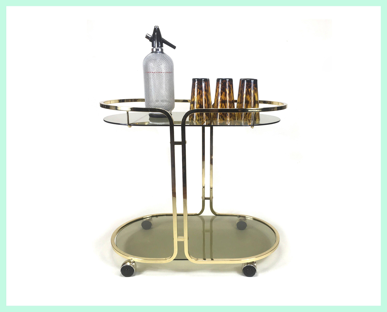 Italian Vintage Serving Cart Tea Trolley Minibar Tea Cart Bar Cart Tea Wagon Side Table Metal Gold Glass Mid Century 70s 80s Mit Bildern Servierwagen Minibar Vintage