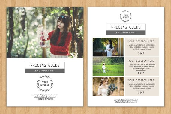 Photography Price List Flyer Template Photographer Pricing Guide - Price list brochure template