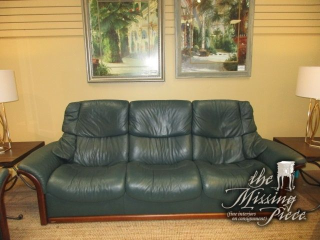 Miraculous Ekornes Stressless Reclining Sofa In A Deep Green Leather On Bralicious Painted Fabric Chair Ideas Braliciousco