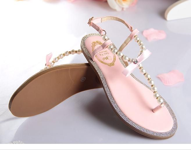 929a2770ced 2016 bow women s flip-flop shoes rc t flip flops rhinestone pearl sandals  female flat women s shoes size 33--43