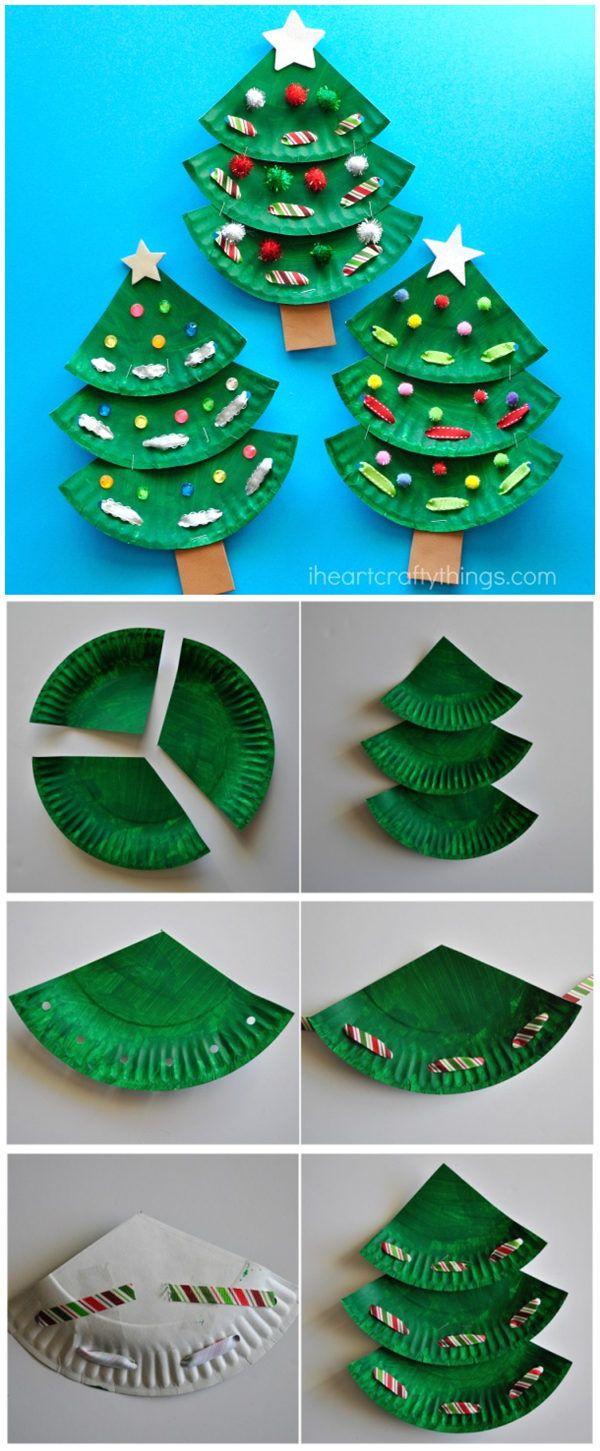 Paper Plate Christmas Tree Craft Cartes De Noel Pour Enfants Decoration Noel Enfant Carte Noel