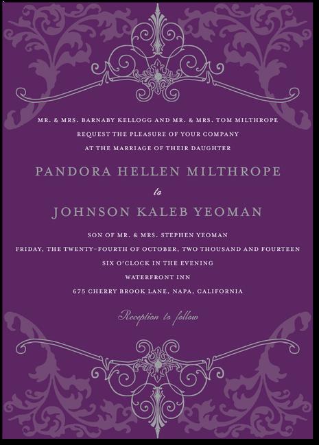 Regal Refinement Royal Delicate Wedding Invitations in Purple Blue