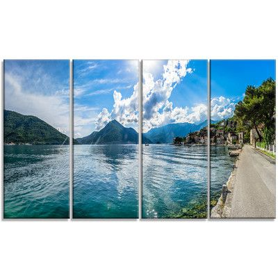 DesignArt 'Kotor Bay on Summer Day Panorama' 4 Piece Photographic Print on Wrapped Canvas Set