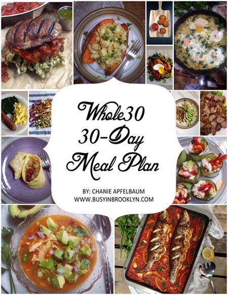 30-Day Whole30 Meal Plan with over 100 recipes that are sugar-free, grain-free, dairy-free, peanut-free, soy-free, Paleo and kosher!