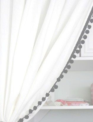 Classic White Cotton Curtain With Pom Pom Or Tassel Trim White