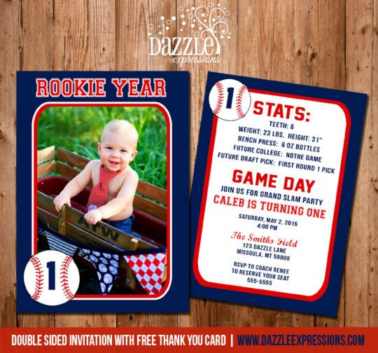 Printable Baseball Card Stats Birthday Photo Invitation Rookie - baseball flyer