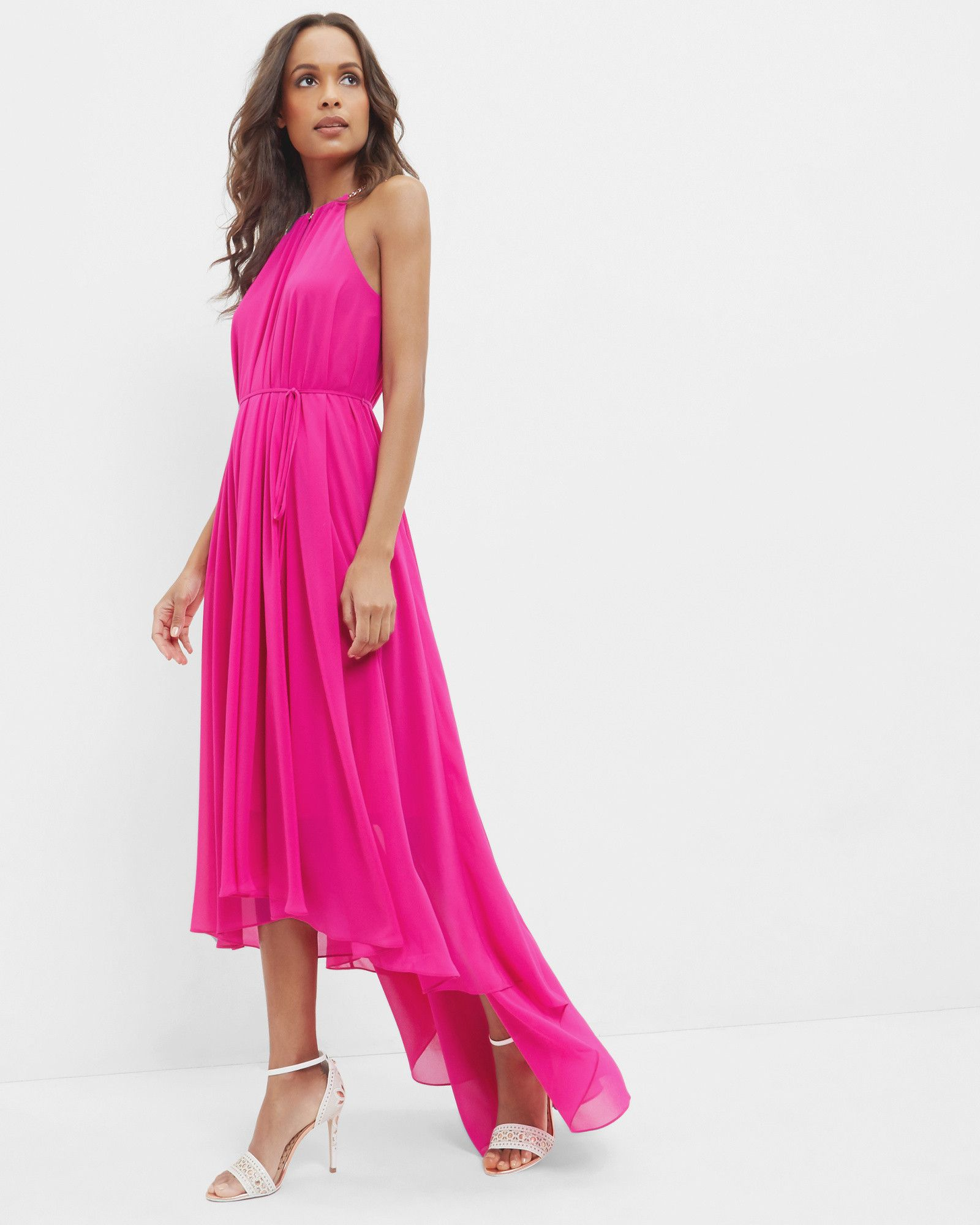 Chain detail drop hem dress - Fuchsia | Dresses | Ted Baker UK ...
