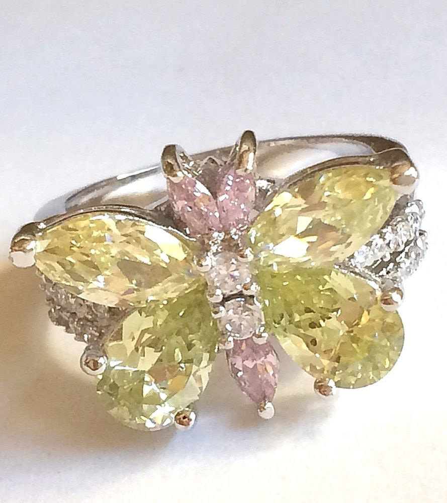 af0f96a11d213 Details about Cubic Zirconia Ring Size 9 Pink Oval Shape Silver Tone ...