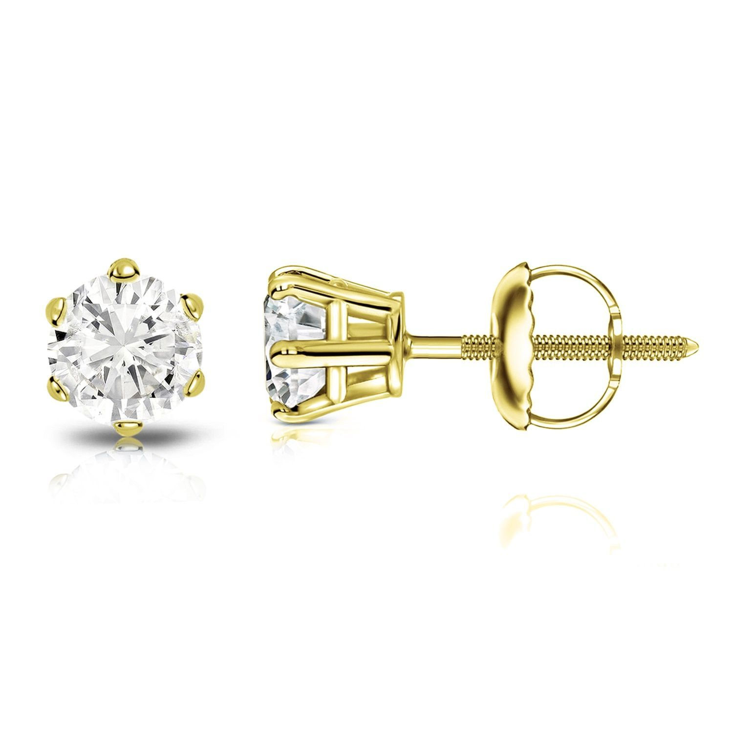 Auriya 14k Gold 4ct TDW 6 Prong Screw Back Round Diamond Stud