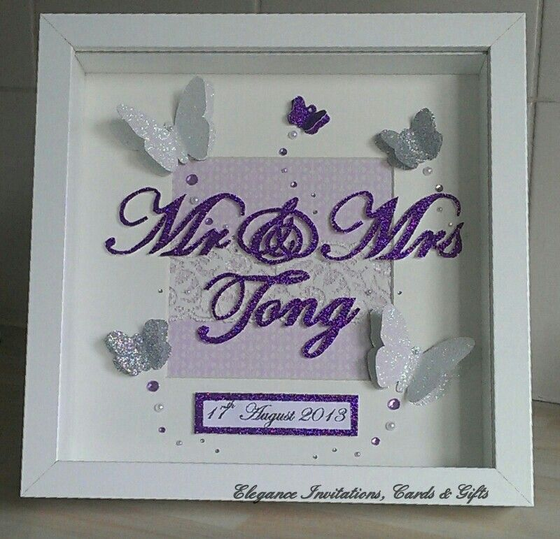 3D Butterfly Frame with handcut \'Mr & Mrs\' and surname added ...