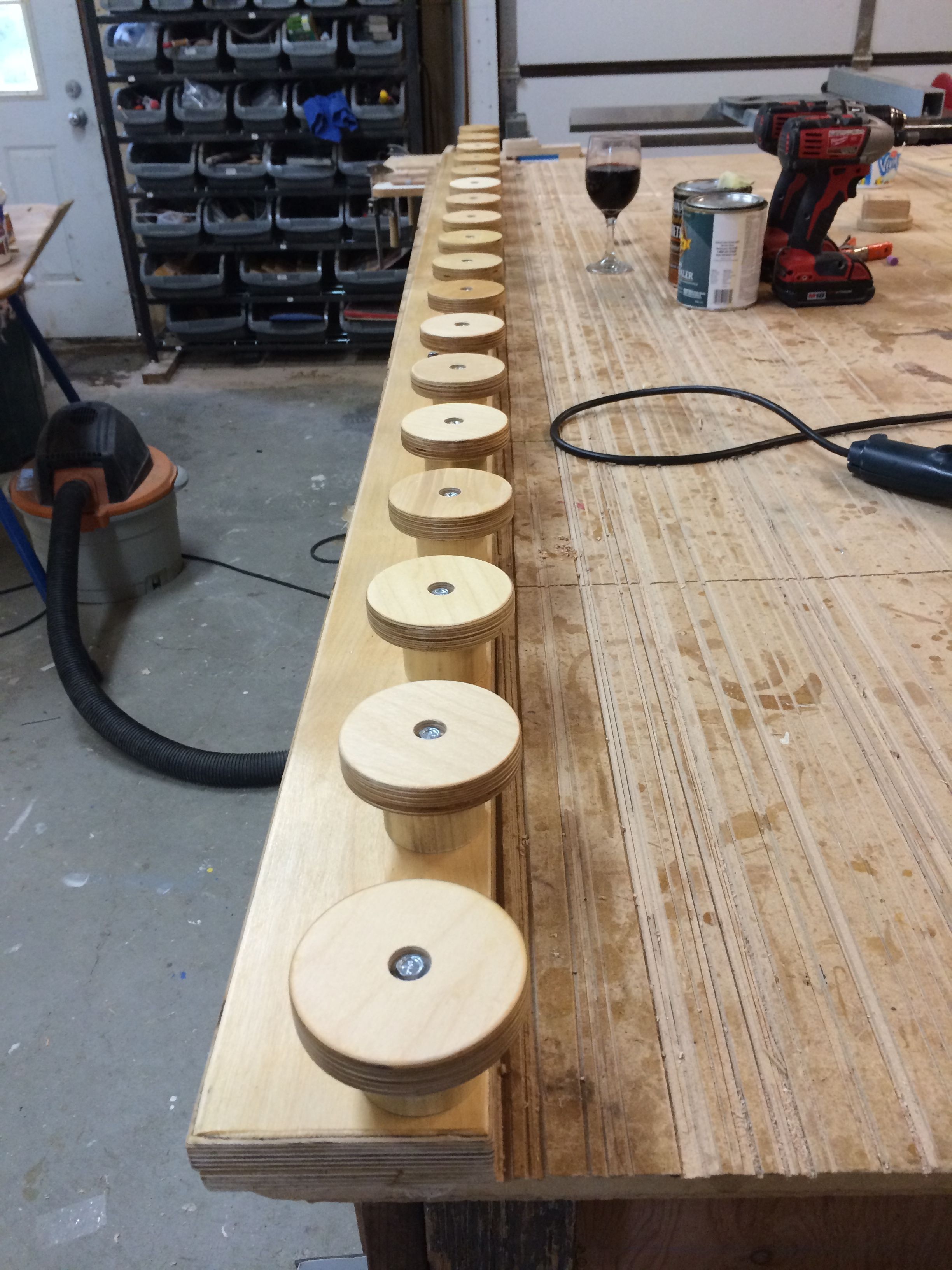 96 inch Totti Button Ski Rack holds 18 pairs of skis.  See more on www.buttonskirack.com.