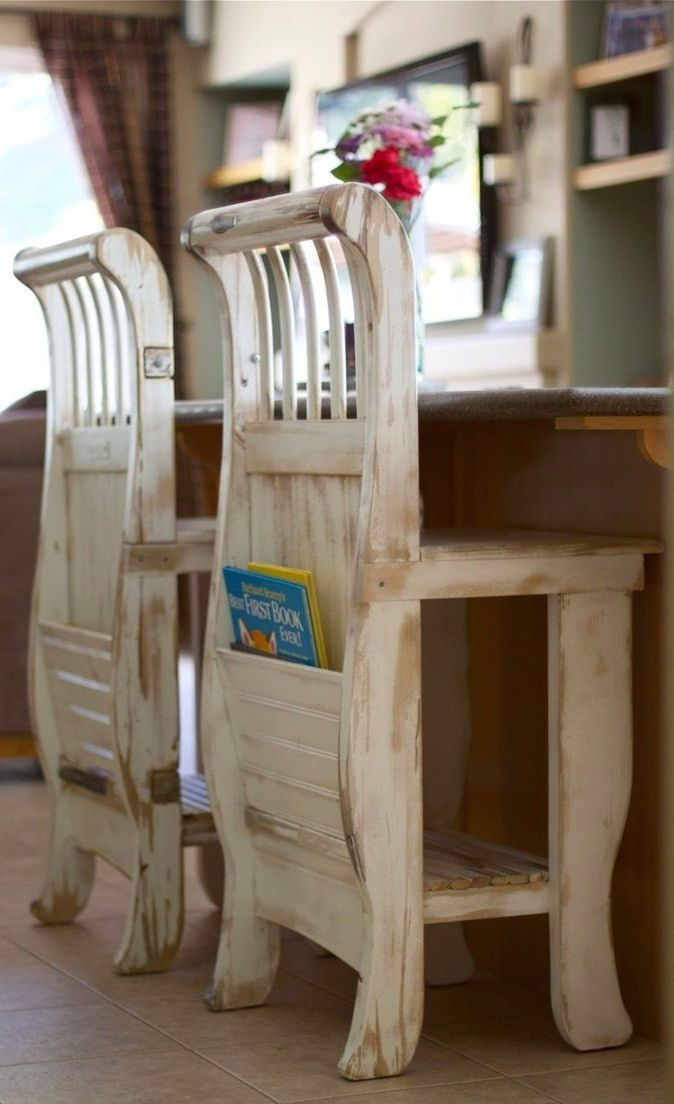 Do It Yourself Home Design: Repurposed Baby Crib To #DIY Kitchen Stools For The Kids