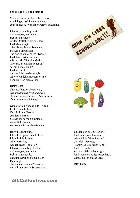 Schokolade - ein Songtext zum Plural | deutsch | Pinterest