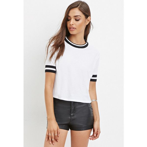 Forever 21 Forever 21 Women's Varsity-Striped Boxy Tee ($15) ❤ liked on