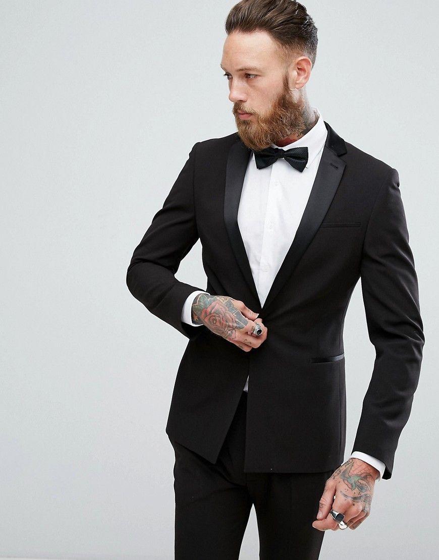44d6692fa7c8 DESIGN super skinny tuxedo suit jacket in black