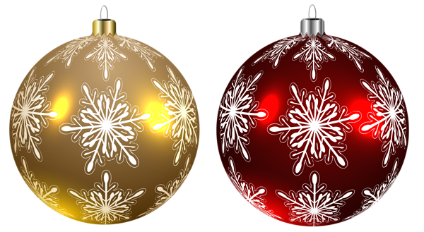 Christmas balls yellow and red transparent png clipart image