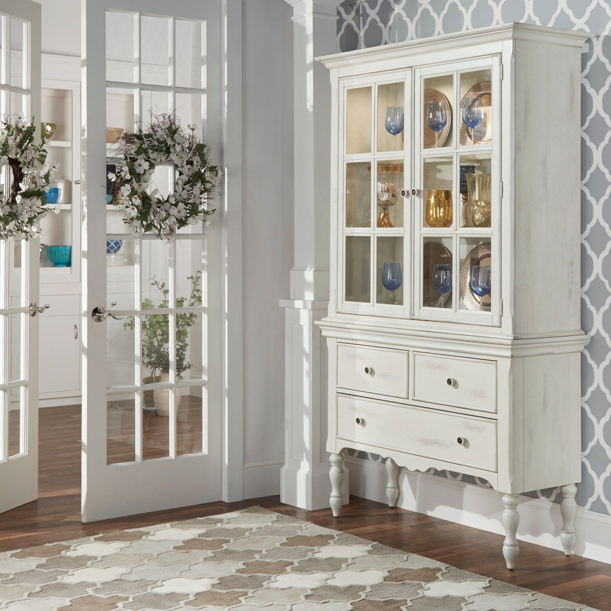 McKay Country Antique White Display Buffet Storage China Cabinet by iNSPIRE  Q Classic (China Cabinet), Ivory Cream
